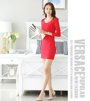 2014 autumn winter new Korean fashion bottoming dress OL Slim package hip fitted long-sleeved dress