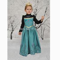 2014 hot girls dress party dress green Frozen ice Romance new summer ELSA ANNA princess dress child dress