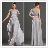 Free Shipping One Shoulder Evening Dresses floor length silver chiffon Evening Dress