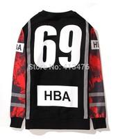2014 HBA brand Hiphop 3M reflective men's hoodies Outerwear pullover moleton 69 print HOOD BY AIR Sweatshirts