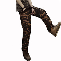 New 2014 Free Shipping Autumn Outdoor Leisure  Men's Cotton Washed Multi-pocket Camouflage Cargo Pants Men Long Trousers