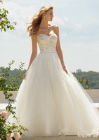 Cheap Price ! 2014 New Free Shipping Lace A Line Sweetheart White / Ivory Wedding Dresses