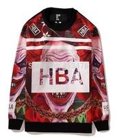 2014 autumn new style HBA BOX logo brand men's Outerwear pullover moleton HOOD BY AIR Sweatshirts stripe Clown print clothes