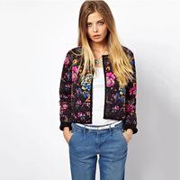 L2935 woman floral cotton autumn jacket winter 2014 new European style flower print women's coat black ladies blazer