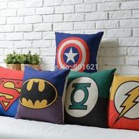 Free shipping Christmas gift cool Batman Superman Green Lantern The Flash  pattern Cushion Cover home decorative pillow Case