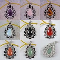 Free shipping Mixed Stone Amethyst,Rose Quartz,Tigereye,Opal,Agate,Sandstone Teardrop Pendant GEM Jewelry