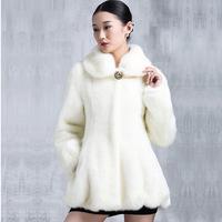 2015 Plus Size Winter Warm Luxury Overcoats Ladies Elegant  Rex Rabbite Fur Jacket New Fashion Women's Fur Outerwear Coat A176