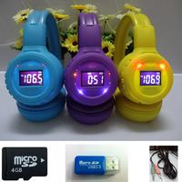 Headband sports mp3 headset Folding TF card support FM radio computer headphone with MIC + 4GB TF card + card read + Free Ship