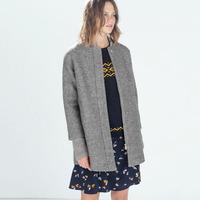 L2955 Women Grey Medium Long Oversize Warm Wool Jacket European Fashion Overcoat Woman's 2014 Autumn Knit Coat Cotton Outwears
