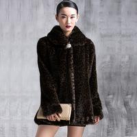 2015 Plus Size Winter Warm Luxury Leopard Overcoats Ladies Elegant Mink Fur Jacket New Fashion Women's Fur Outerwear Coat A193