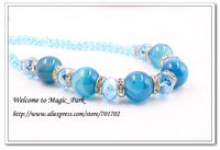 Free shipping High quality Blue Natural Stone Beaded Rhinestone Necklace Trendy Round Shape Big Beads Necklace Chain 2812