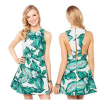 2014 women dress  Simple Empire Banana Leaf Print Sleeveless A-line Dress Mint Women Beach Style  XS~XXL