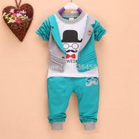 Wholesale New 2014 Baby Clothing Children Tops with Vest + Pants Sport Suit Cotton Conjuntos Kids Clothes Sets
