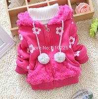 New 2014 Children Coat Baby Girls Causal Outerwear Flower Girls' Winter Clothes Baby Girls Hoodies Kids Zipper Sweatshirts