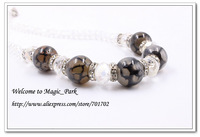 Free shipping High quality Gray Natural Stone Beaded Rhinestone Necklace Trendy Round Shape Big Beads Necklace Chain 2815