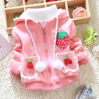 New 2014 Children Coat Baby Girls Causal Outerwear Strawberry Girls' Winter Clothes Girls Hoodies Lace Kids Zipper Sweatshirts