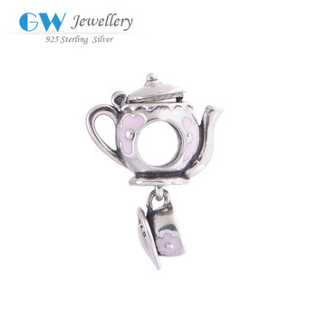 Teapot with cup enamel charms fits sterling silver 925 love bracelet charms alibaba ...