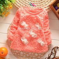 New 2014 Children Coat Baby Girls Causal Outerwear Girls' Undershirt Girls Bow Kids Pullover Sweatshirts