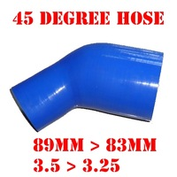 "89 mm > 83 mm, 3.5"" > 3.25"" Inch Silicone Reducer Hose Elbow 45 Degree Reinforced Silicone Pipe Air Intake #18139578189 Bend BLU"
