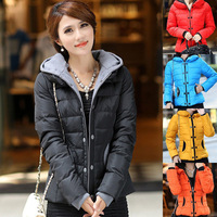 Winter Womens Hooded Candy Color Slim Down Coat Warm Jacket Outwear Parka Size