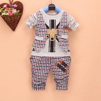 Baby Boy Clothes Sets Plaid Vest Tops + Pants Autumn Baby Clothing Cotton Costume Kids Clothes Sets Boys Clothing Set