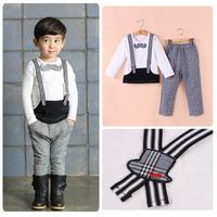 Free shipping 2014 new autumn children's clothing set fashion gentleman white T -shirt plaid pants boy clothings set
