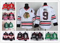 Chicago Blackhawks Jerseys Ice Hockey Jerseys #9 Bobby Hull Jersey white red black green third Jersey 2013 Stanley Cup Champion