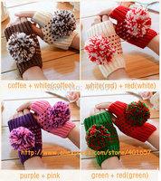 SWA750  Fashion Wool Warm Winter 4 Cute Style Mitten Fingerless Gloves Fur Ball Knitted Women Gloves Winter