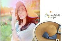 Summer women's  bowtie decoration   collapsible flap hat beach sun hat Tropical Peaked Cap Y644