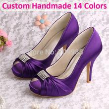(15 cores) Dropshipping casamento nupcial sapatos de salto alto roxos Toe Praça com Charms frete grátis(China (Mainland))