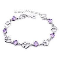 100% Sterling Silver 925 Jewelry Silver Bracelet Amethyst Bracelets & Bangles Fine Jewelry Top Quality!!