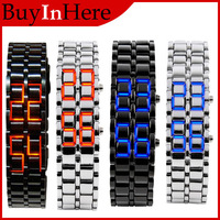 Men Lady  Fashion Men Women Style Lava Iron Samurai Metal Digital Red/Blue LED Faceless Bracelet Luxury Wrist Watch WristWatch