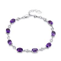 AAA 100% Sterling Silver 925 Jewelry Amethyst Bracelet Female Silver Flash Star Bracelet Christmas Gift Free Shipping!!