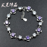 AAA 100% Sterling Silver 925 Jewelry Bracelets & Bangles Pure Natural Amethyst Bracelet Christmas Gift Free Shipping
