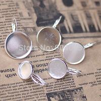 200pcs 10-20mm925 Sterling Silver Plated Earring studs Hooks Cameo,Brass stud earrings accessories,earrings base setting Blank