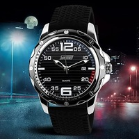 Original Brand SKMEI Men's Fashion Style Calendar Black Silicone Band Quartz Wrist Watch(Assorted Colors) free shopping