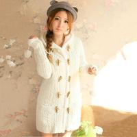 New 2014 Korean Version Knitted Wool Coat Women'S Fleece Thickening Hooodies Hooded Jacket Outerwear Cardigan