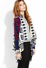 New Fashion Women Geometric Pattern Draped Pullover Knitted Wool Coats,Ladies Plus Bust Loose Open Stitch Sweater my18(China (Mainland))