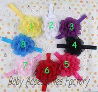2014 Chic Novelty Infant Elastic Headband Baby Chiffon Flower Headband Newborn Flower Hair Band Baby Christmas Hair Accessories