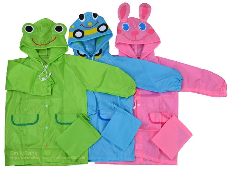 Funny Cartoon Frog Car Boys Rain Coat Cute Bunny Girls Raincoat Baby Children's Rainwear(China (Mainland))