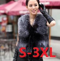 Low Price!!!2014 Autumn Spring and Winter High Imitation Faux Fox Fur Vest Gilet Outerwear Womens Coat Plus Size #7 SV004747
