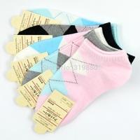 1 lot =10pairs =20pcs Grid Cotton socks women sock Candy lady boat socks free shipping
