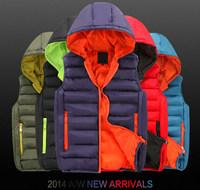 New arrival autumn winter candy color men vest casual hooded men's vest fashion waistcoat for men  5 colors