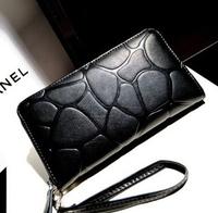 British European and American black stone pattern wallet female models zipper