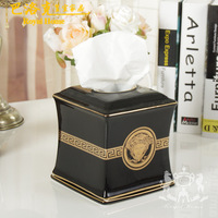 Luxury european-style tissue box ceramic carton furnishing articles Home decoration gift boxes housewarming gift