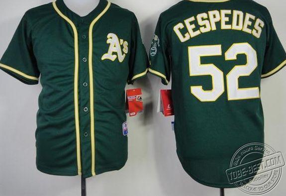Free shipping, Oakland Athletics #52 Yoenis Cespedes Green notre dame soccer boy(China (Mainland))