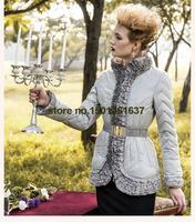 Free shipping luxury  Hepburn retro elegant light Heavy flounced women down jacket