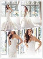 A-line Floor length Chapel train Corset Back Illusion Sweetheart Neckline Dropped Waist Draped Organza Wedding Dresses 2014