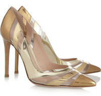 New! GIANVITO ROSSI Perspex-paneled metallic patent-leather pumps women genuine leather shoes party shoes free shipping