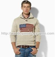 Free shipping. 2014 Fashion New Autumn/Winter Men's Knit Sweater,Men's Pullover,Plus USA Flag Sweater Men